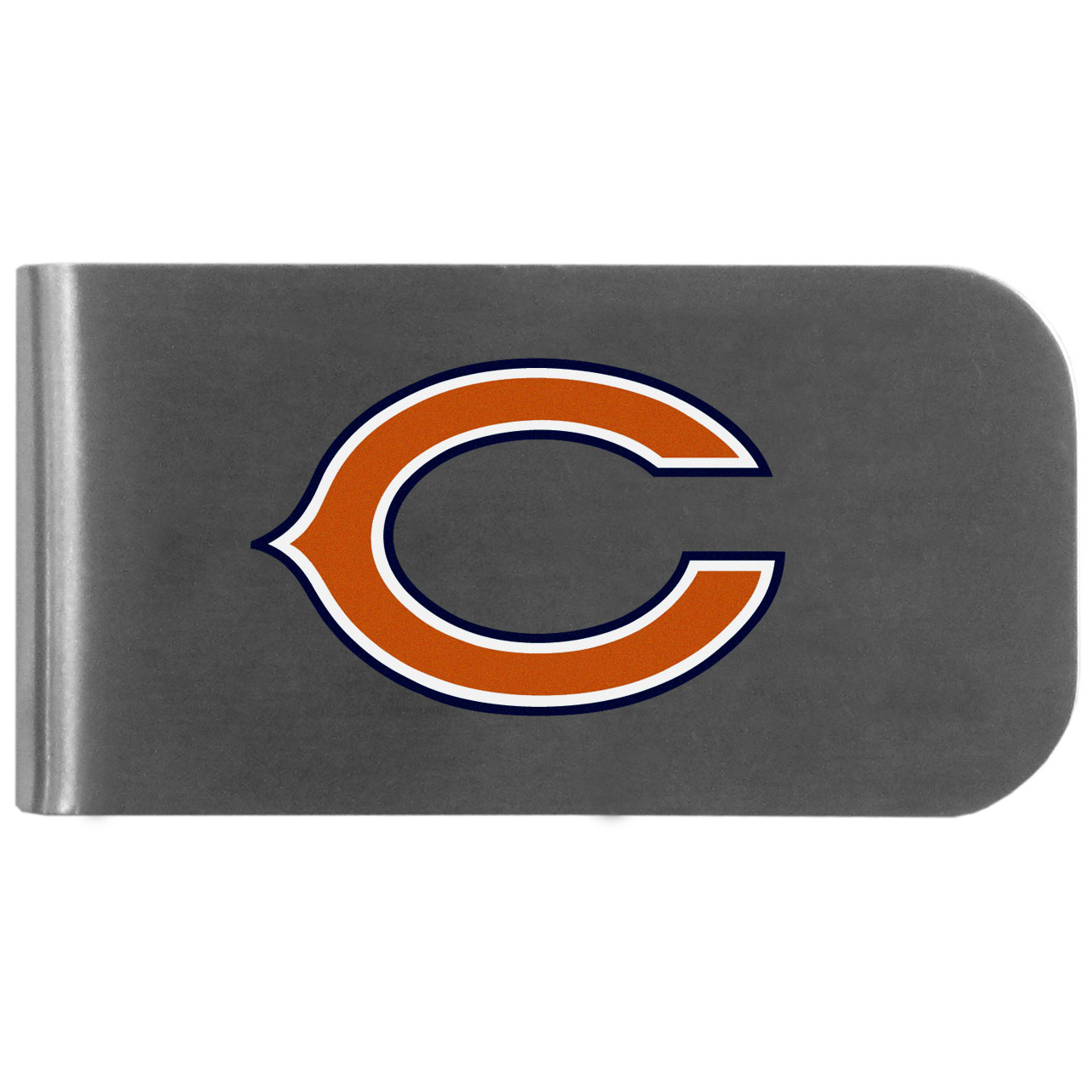Chicago Bears Logo Bottle Opener Money Clip - This unique money clip features a classic, brushed-metal finish with a handy bottle opener feature on the back. The clip has the Chicago Bears logo expertly printed on the front of the clip.
