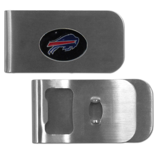 Buffalo Bills Bottle Opener Money Clip - These unique money clip is made of heavy duty steel and has a functional bottle opener on the back. The money clip features a team emblem with enameled team colors. Makes a great gift! Officially licensed NFL product Licensee: Siskiyou Buckle .com