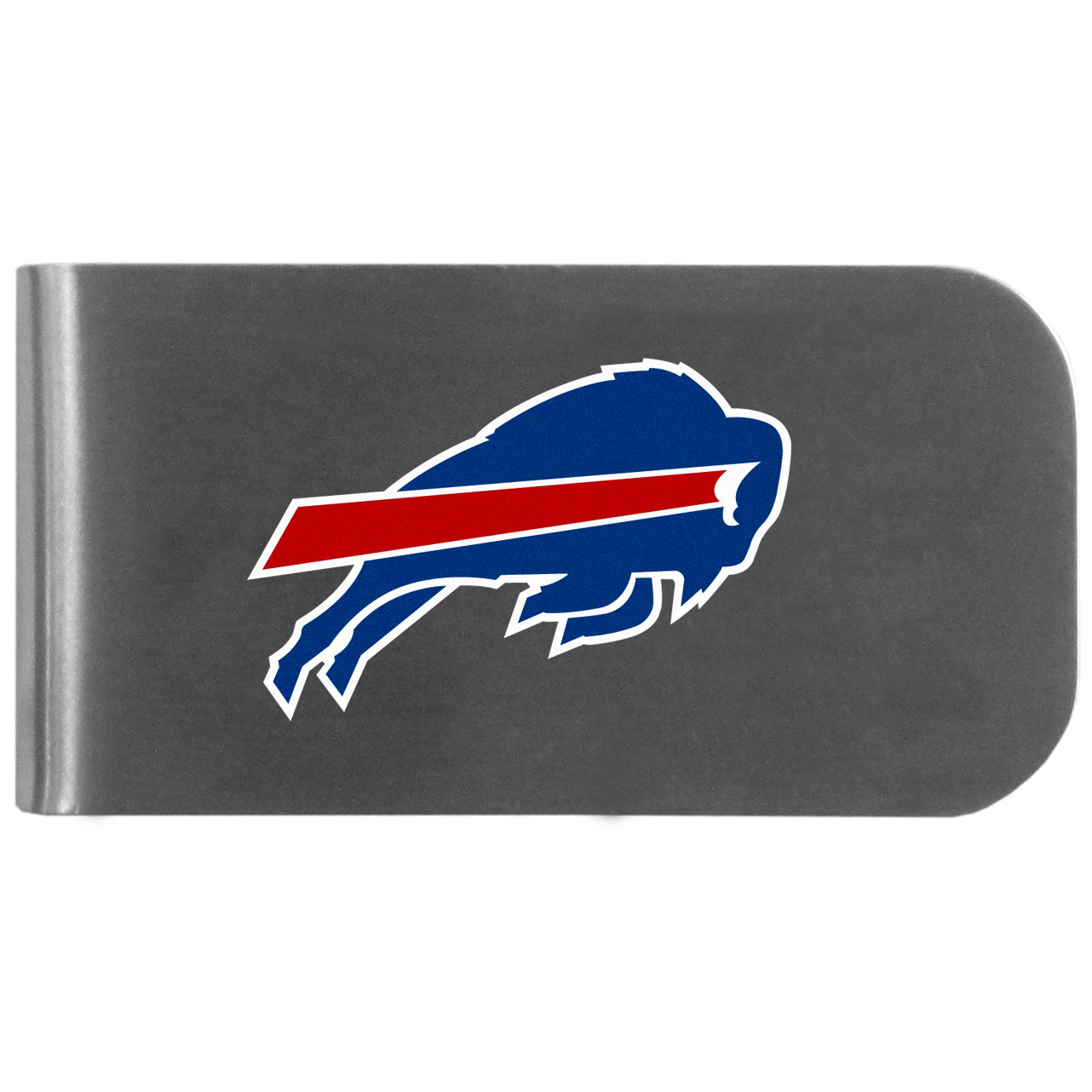 Buffalo Bills Logo Bottle Opener Money Clip - This unique money clip features a classic, brushed-metal finish with a handy bottle opener feature on the back. The clip has the Buffalo Bills logo expertly printed on the front of the clip.