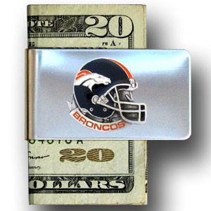Denver Broncos stainless steel money clip - Our NFL stainless steel money clips feature a hand painted emblem featuring the Denver Broncos. Officially licensed NFL product Licensee: Siskiyou Buckle Thank you for visiting CrazedOutSports.com