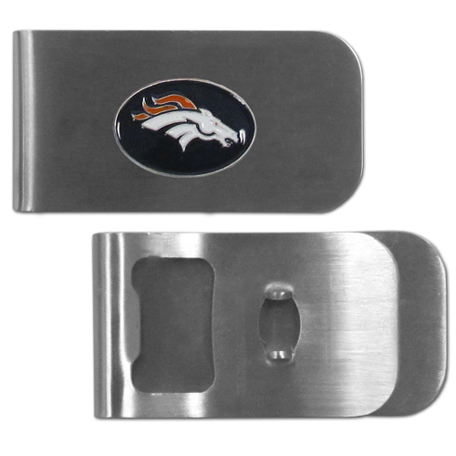 Denver Broncos Bottle Opener Money Clip - These unique money clip is made of heavy duty steel and has a functional bottle opener on the back. The money clip features a team emblem with enameled team colors. Makes a great gift! Officially licensed NFL product Licensee: Siskiyou Buckle Thank you for visiting CrazedOutSports.com
