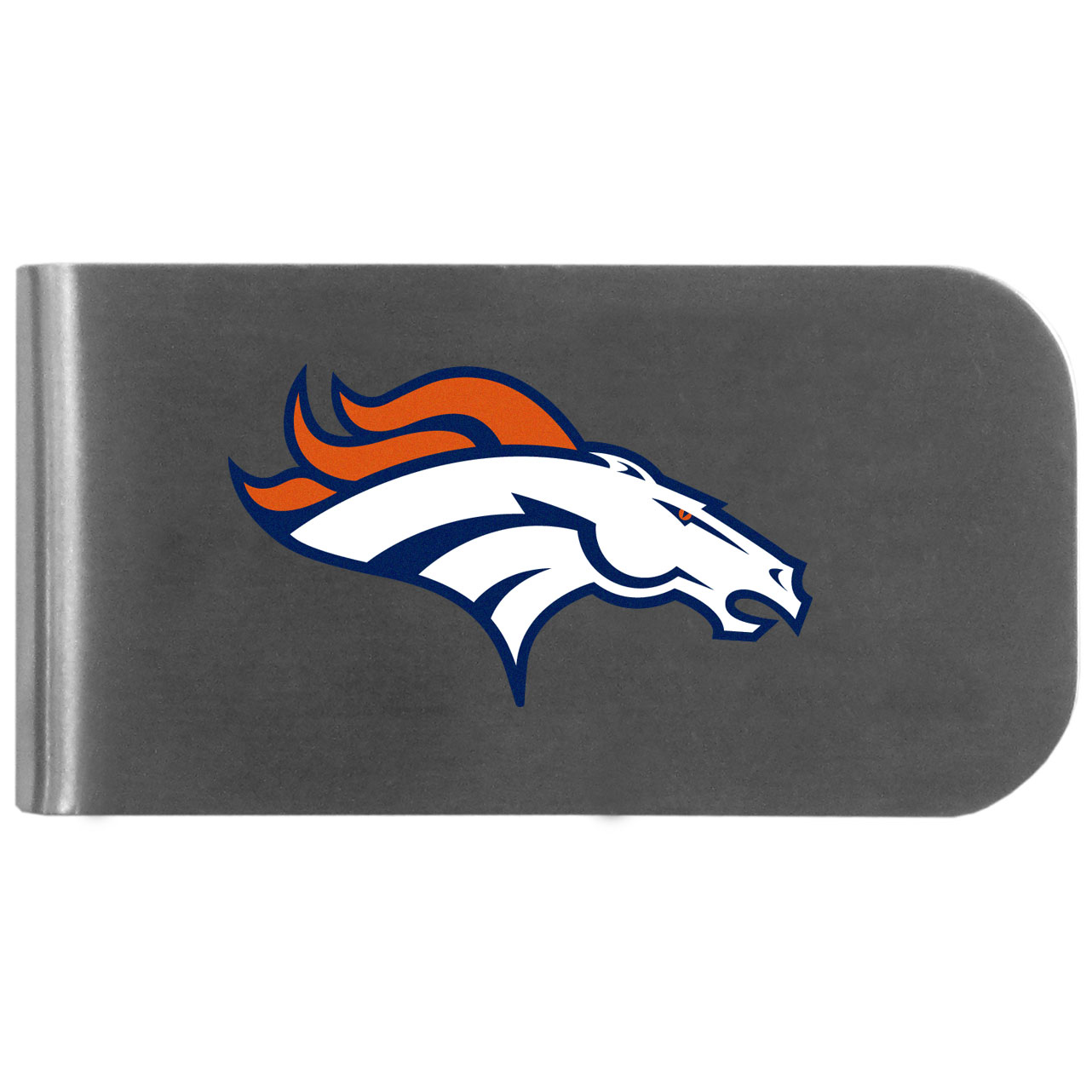 Denver Broncos Logo Bottle Opener Money Clip - This unique money clip features a classic, brushed-metal finish with a handy bottle opener feature on the back. The clip has the Denver Broncos logo expertly printed on the front of the clip.