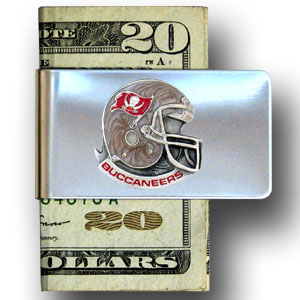Tampa Bay Buccaneers stainless steel money clip - Our NFL stainless steel money clips feature a hand painted emblem featuring the Tampa bay Buccaneers. Officially licensed NFL product Licensee: Siskiyou Buckle .com