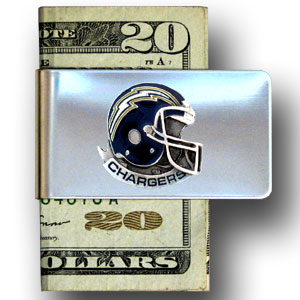 Los Angeles Chargers stainless steel money clip - Our Los Angeles Chargers stainless steel money clips feature a hand painted emblem featuring the Los Angeles Chargers. Officially licensed NFL product Licensee: Siskiyou Buckle .com