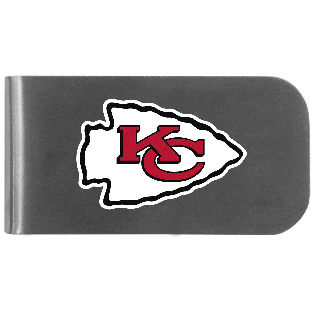 Kansas City Chiefs Logo Bottle Opener Money Clip - This unique money clip features a classic, brushed-metal finish with a handy bottle opener feature on the back. The clip has the Kansas City Chiefs logo expertly printed on the front of the clip.