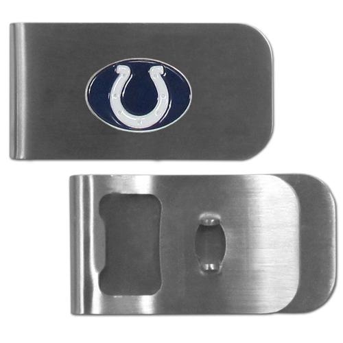 Indianapolis Colts Bottle Opener Money Clip - These unique money clip is made of heavy duty steel and has a functional bottle opener on the back. The money clip features a team emblem with enameled team colors. Makes a great gift! Officially licensed NFL product Licensee: Siskiyou Buckle Thank you for visiting CrazedOutSports.com