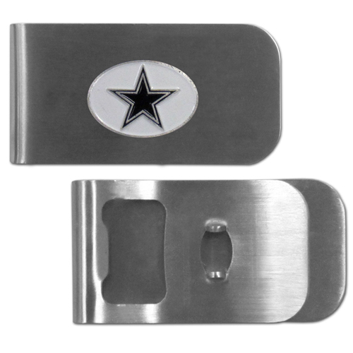 Dallas Cowboys Bottle Opener Money Clip - These unique money clip is made of heavy duty steel and has a functional bottle opener on the back. The money clip features a team emblem with enameled team colors. Makes a great gift! Officially licensed NFL product Licensee: Siskiyou Buckle Thank you for visiting CrazedOutSports.com