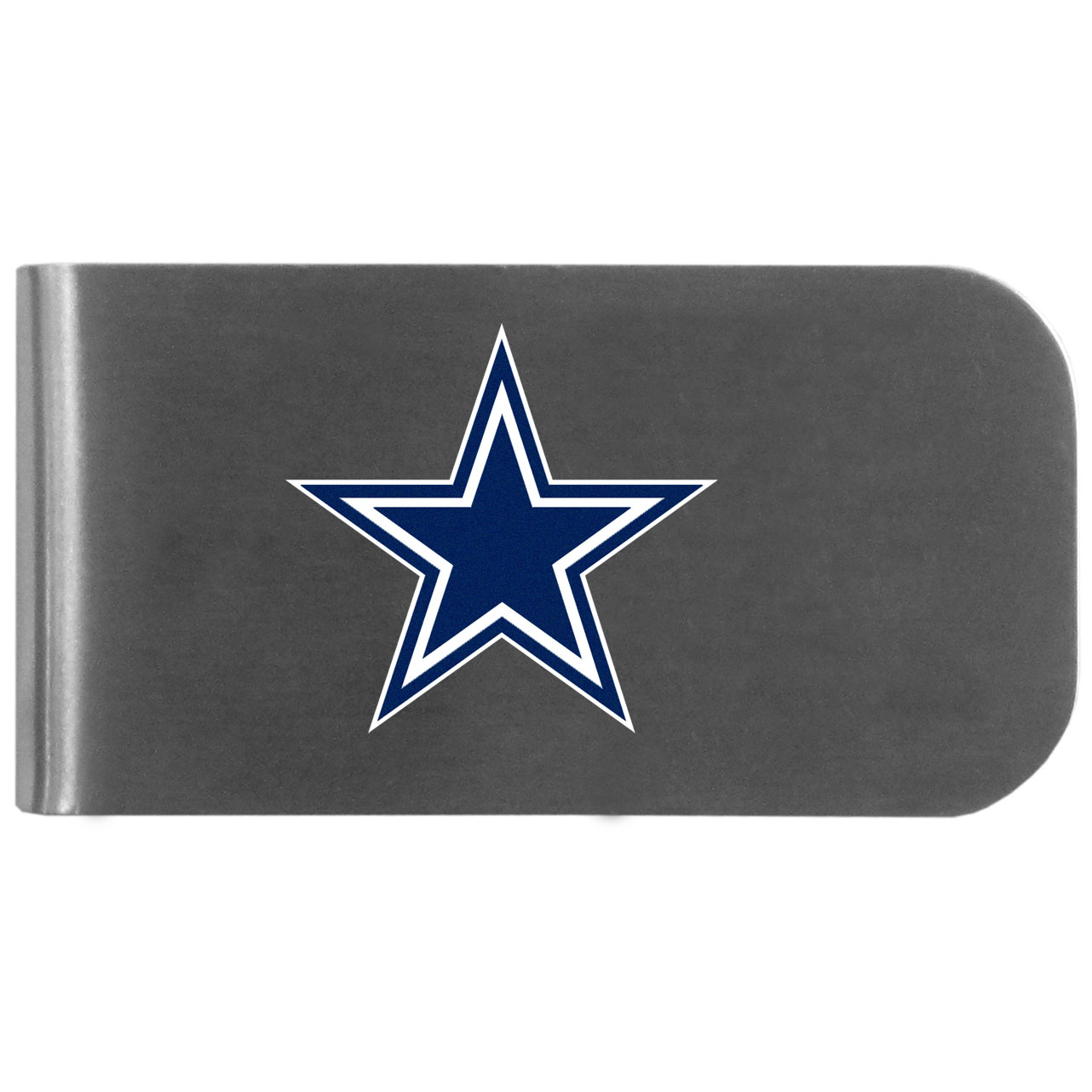 Dallas Cowboys Logo Bottle Opener Money Clip - This unique money clip features a classic, brushed-metal finish with a handy bottle opener feature on the back. The clip has the Dallas Cowboys logo expertly printed on the front of the clip.