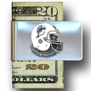 Miami Dolphins stainless steel money clip - Our NFL stainless steel money clips feature a hand painted emblem featuring the Miami Dolphins. Officially licensed NFL product Licensee: Siskiyou Buckle .com