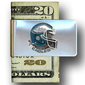 Philadelphia Eagles stainless steel money clip - Our NFL stainless steel money clips feature a hand painted emblem featuring the Philadelphia Eagles. Officially licensed NFL product Licensee: Siskiyou Buckle .com