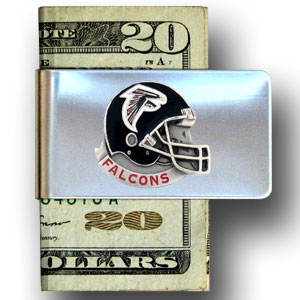 Atlanta Falcons stainless steel money clip - Our NFL stainless steel money clips feature a hand painted emblem featuring the Atlanta Falcons. Officially licensed NFL product Licensee: Siskiyou Buckle .com