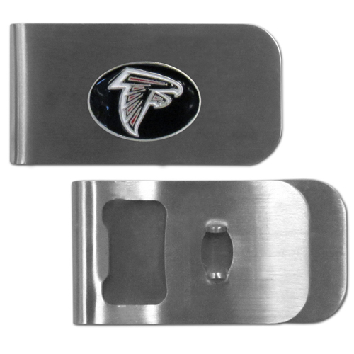 Atlanta Falcons Bottle Opener Money Clip - These unique money clip is made of heavy duty steel and has a functional bottle opener on the back. The money clip features a team emblem with enameled team colors. Makes a great gift! Officially licensed NFL product Licensee: Siskiyou Buckle .com