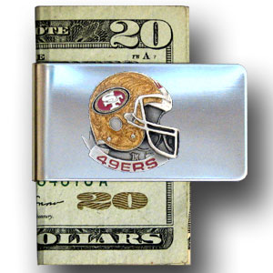 San Francisco 49ers stainless steel money clip - Our NFL stainless steel money clips feature a hand painted emblem featuring the San Francisco 49ers. Officially licensed NFL product Licensee: Siskiyou Buckle .com