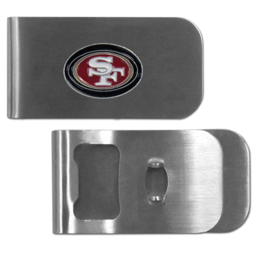 San Francisco 49ers Bottle Opener Money Clip - These unique money clip is made of heavy duty steel and has a functional bottle opener on the back. The money clip features a team emblem with enameled team colors. Makes a great gift! Officially licensed NFL product Licensee: Siskiyou Buckle .com