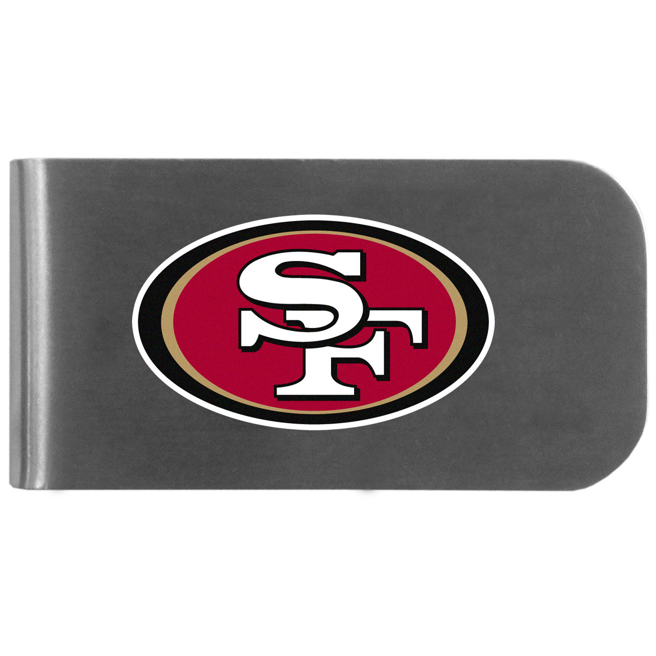 San Francisco 49ers Logo Bottle Opener Money Clip - This unique money clip features a classic, brushed-metal finish with a handy bottle opener feature on the back. The clip has the San Francisco 49ers logo expertly printed on the front of the clip.