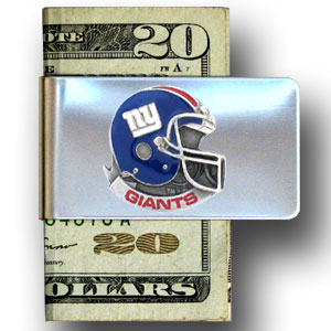 New York Giants Sculpted and Enameled Pewter Money Clip  - Our NFL stainless steel money clips feature a hand painted emblem featuring the New York Giants. Officially licensed NFL product Licensee: Siskiyou Buckle .com