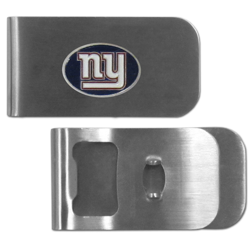 New York Giants Bottle Opener Money Clip - These unique money clip is made of heavy duty steel and has a functional bottle opener on the back. The money clip features a team emblem with enameled team colors. Makes a great gift! Officially licensed NFL product Licensee: Siskiyou Buckle .com