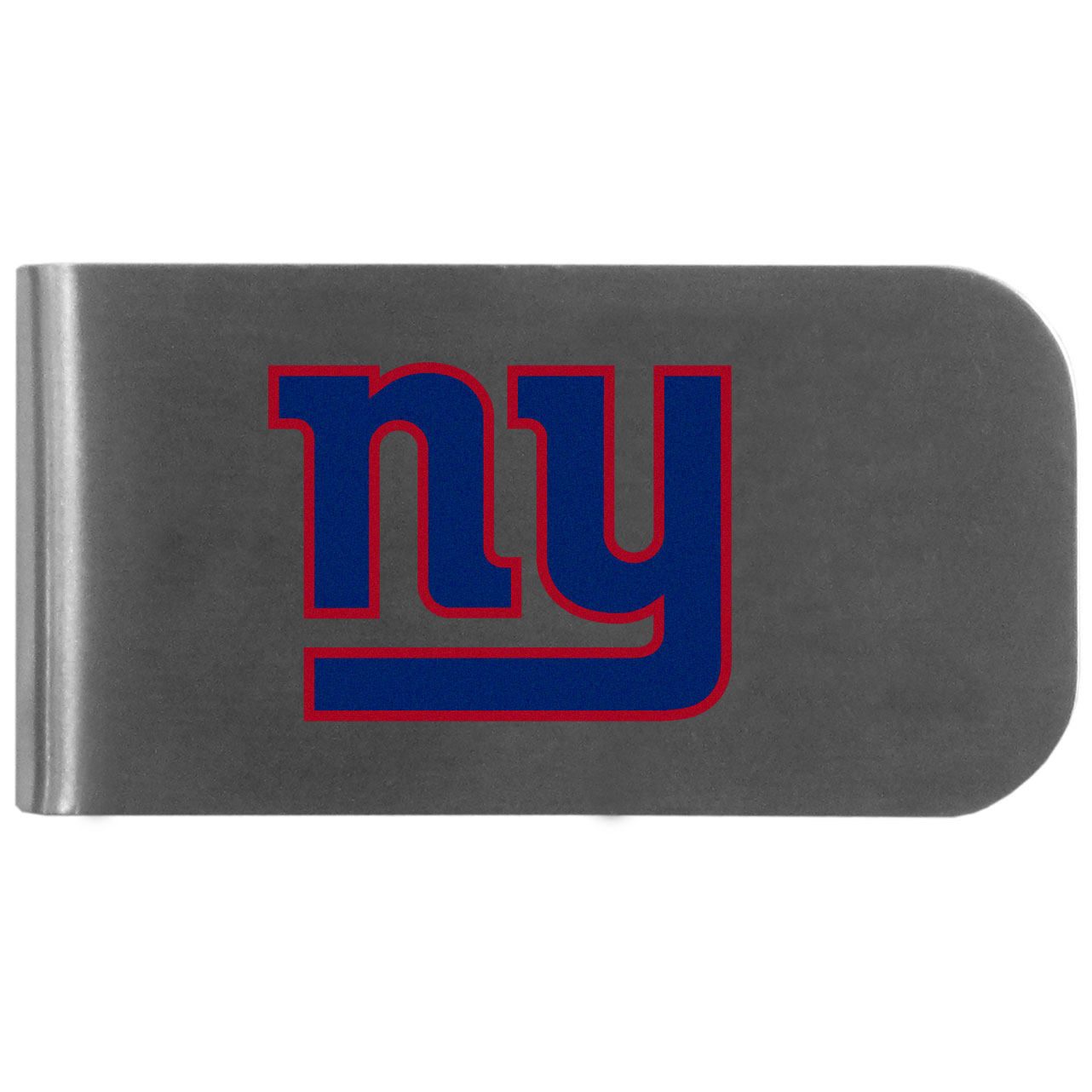New York Giants Logo Bottle Opener Money Clip - This unique money clip features a classic, brushed-metal finish with a handy bottle opener feature on the back. The clip has the New York Giants logo expertly printed on the front of the clip.