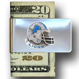 Detroit Lions stainless steel money clip - Our NFL stainless steel money clips feature a hand painted emblem featuring the Detroit Lions. Officially licensed NFL product Licensee: Siskiyou Buckle .com