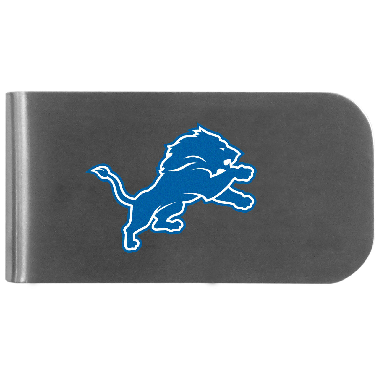 Detroit Lions Logo Bottle Opener Money Clip - This unique money clip features a classic, brushed-metal finish with a handy bottle opener feature on the back. The clip has the Detroit Lions logo expertly printed on the front of the clip.
