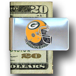 Green Bay Packers stainless steel money clip - Our NFL stainless steel money clips feature a hand painted emblem featuring the Green Bay Packers. Officially licensed NFL product Licensee: Siskiyou Buckle .com