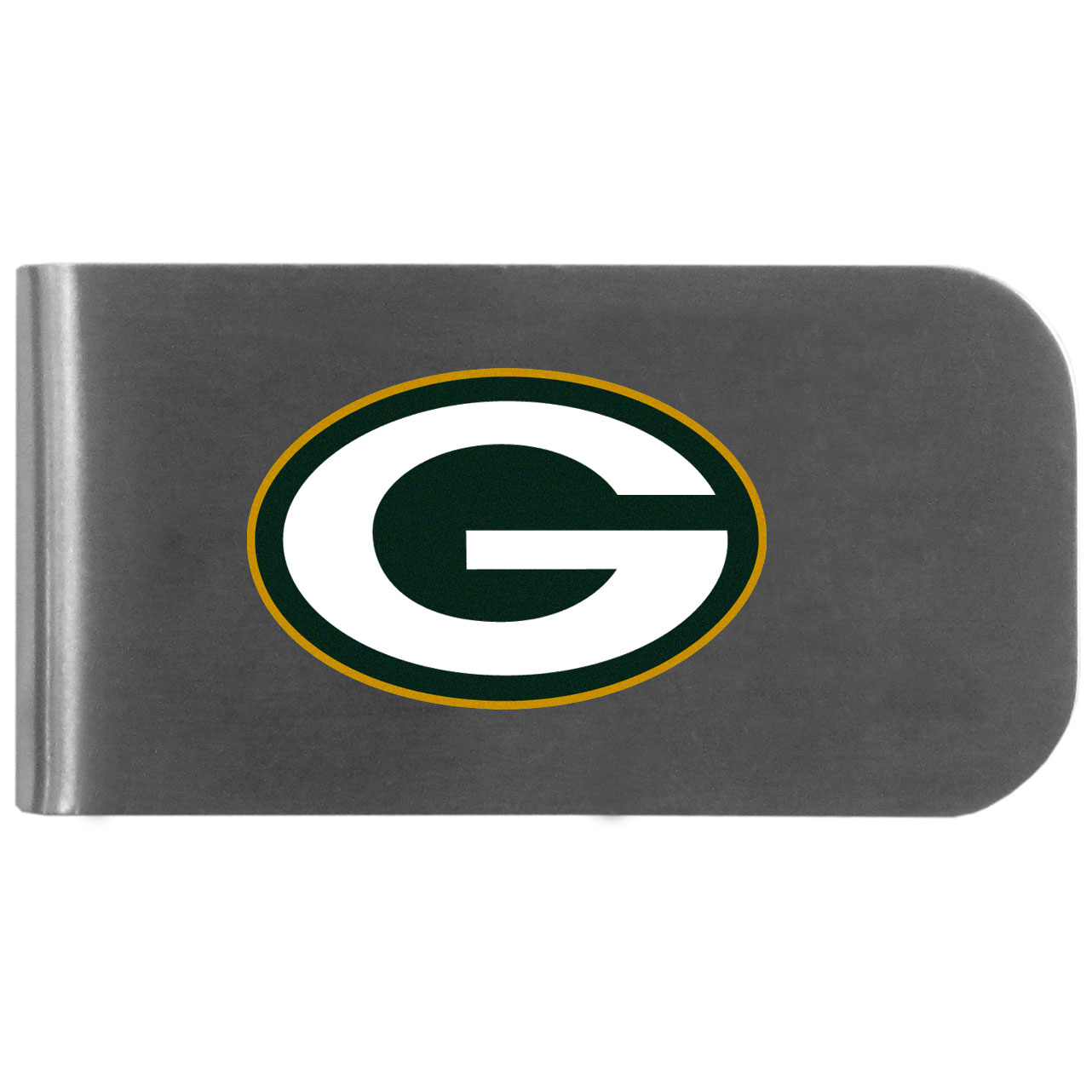 Green Bay Packers Logo Bottle Opener Money Clip - This unique money clip features a classic, brushed-metal finish with a handy bottle opener feature on the back. The clip has the Green Bay Packers logo expertly printed on the front of the clip.