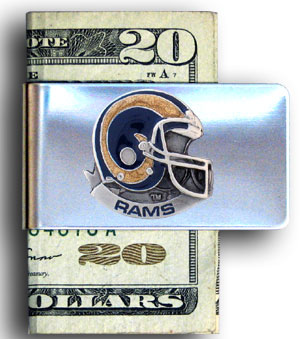 Los Angeles Rams stainless steel money clip - Our NFL stainless steel money clips feature a hand painted emblem featuring the St. Louis Rams. Officially licensed NFL product Licensee: Siskiyou Buckle .com