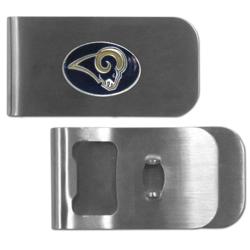 St. Louis Rams Bottle Opener Money Clip - These unique money clip is made of heavy duty steel and has a functional bottle opener on the back. The money clip features a team emblem with enameled team colors. Makes a great gift! Officially licensed NFL product Licensee: Siskiyou Buckle .com