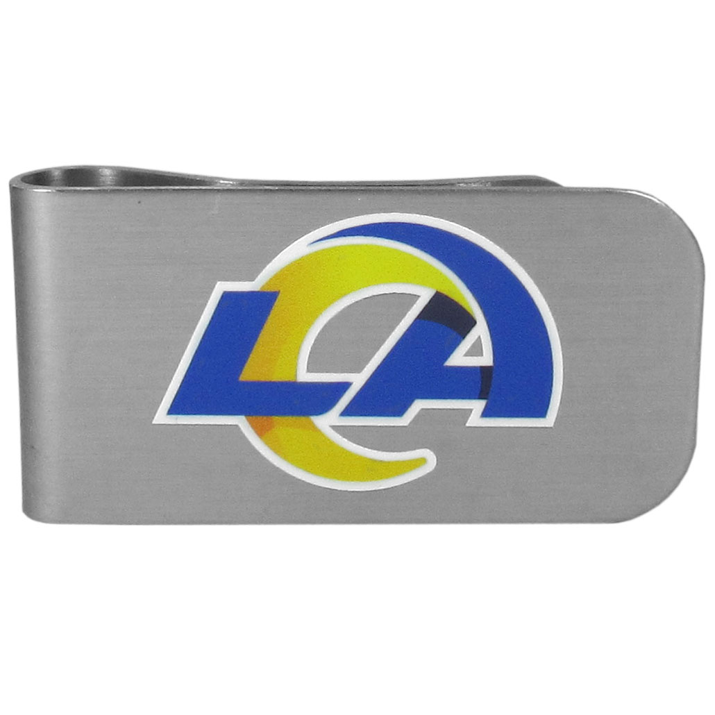 Los Angeles Rams Logo Bottle Opener Money Clip - This unique money clip features a classic, brushed-metal finish with a handy bottle opener feature on the back. The clip has the Los Angeles Rams logo expertly printed on the front of the clip.