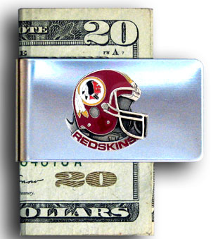 Washington Redskins stainless steel money clip - Our NFL stainless steel money clips feature a hand painted emblem featuring the Washington Redskins. Officially licensed NFL product Licensee: Siskiyou Buckle Thank you for visiting CrazedOutSports.com