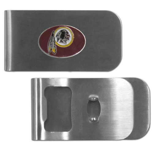 Washington Redskins Bottle Opener Money Clip - These unique money clip is made of heavy duty steel and has a functional bottle opener on the back. The money clip features a team emblem with enameled team colors. Makes a great gift! Officially licensed NFL product Licensee: Siskiyou Buckle Thank you for visiting CrazedOutSports.com