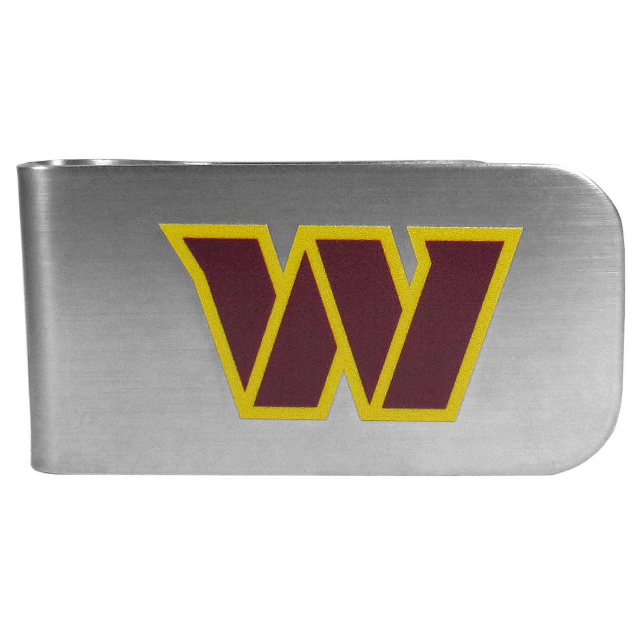 Washington Redskins Logo Bottle Opener Money Clip - This unique money clip features a classic, brushed-metal finish with a handy bottle opener feature on the back. The clip has the Washington Redskins logo expertly printed on the front of the clip.
