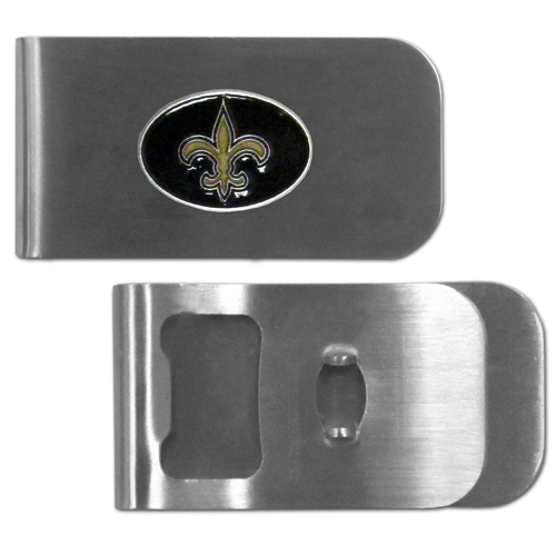 New Orleans Saints Bottle Opener Money Clip - These unique money clip is made of heavy duty steel and has a functional bottle opener on the back. The money clip features a team emblem with enameled team colors. Makes a great gift! Officially licensed NFL product Licensee: Siskiyou Buckle .com
