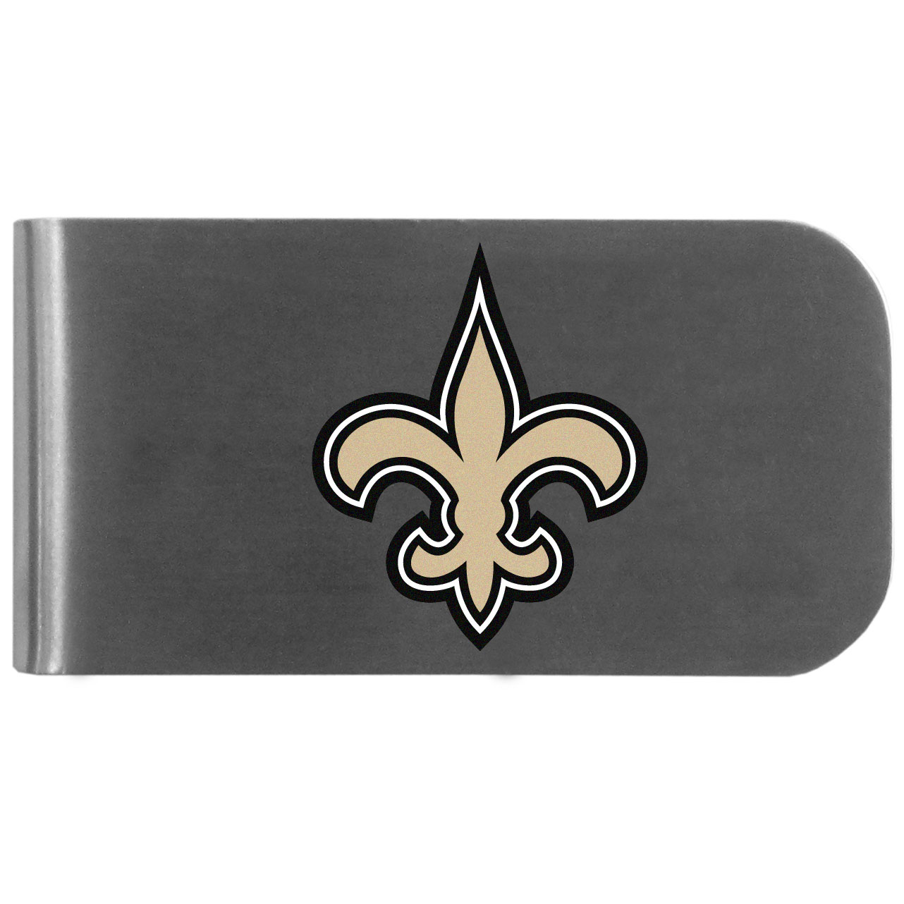 New Orleans Saints Logo Bottle Opener Money Clip - This unique money clip features a classic, brushed-metal finish with a handy bottle opener feature on the back. The clip has the New Orleans Saints logo expertly printed on the front of the clip.
