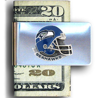 Seattle Seahawks stainless steel money clip - Our NFL stainless steel money clips feature a hand painted emblem featuring the Seattle Seahawks. Officially licensed NFL product Licensee: Siskiyou Buckle .com