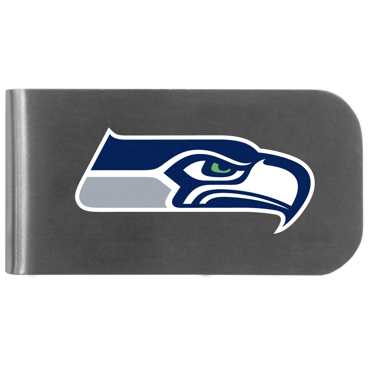 Seattle Seahawks Logo Bottle Opener Money Clip - This unique money clip features a classic, brushed-metal finish with a handy bottle opener feature on the back. The clip has the Seattle Seahawks logo expertly printed on the front of the clip.