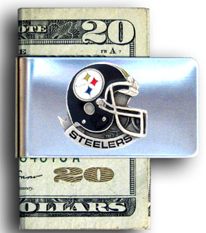 Pittsburgh Steelers stainless steel money clip - Our NFL stainless steel money clips feature a hand painted emblem featuring the Pittsburgh Steelers. Officially licensed NFL product Licensee: Siskiyou Buckle .com