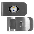 Pittsburgh Steelers Bottle Opener Money Clip - These unique money clip is made of heavy duty steel and has a functional bottle opener on the back. The money clip features a Pittsburgh Steelers emblem with enameled team colors. Makes a great gift! Officially licensed NFL product Licensee: Siskiyou Buckle .com