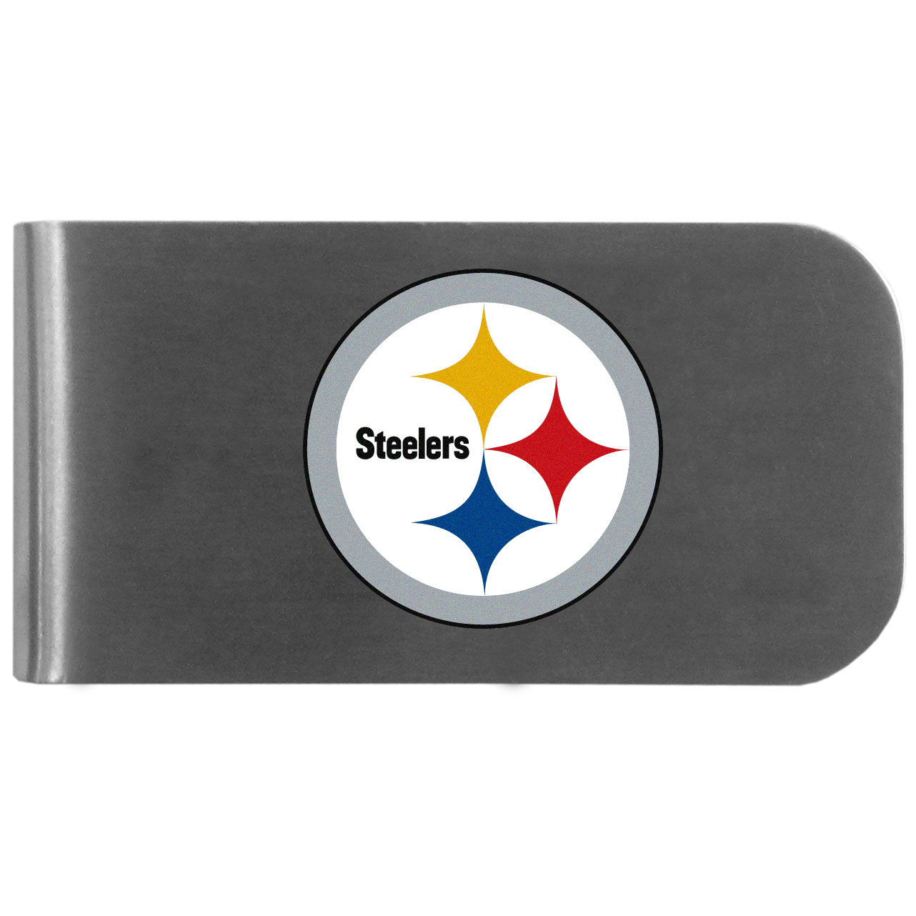 Pittsburgh Steelers Logo Bottle Opener Money Clip - This unique money clip features a classic, brushed-metal finish with a handy bottle opener feature on the back. The clip has the Pittsburgh Steelers logo expertly printed on the front of the clip.