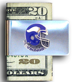 Minnesota Vikings stainless steel money clip - Our NFL stainless steel money clips feature a hand painted emblem featuring the Minnesota Vikings. Officially licensed NFL product Licensee: Siskiyou Buckle .com