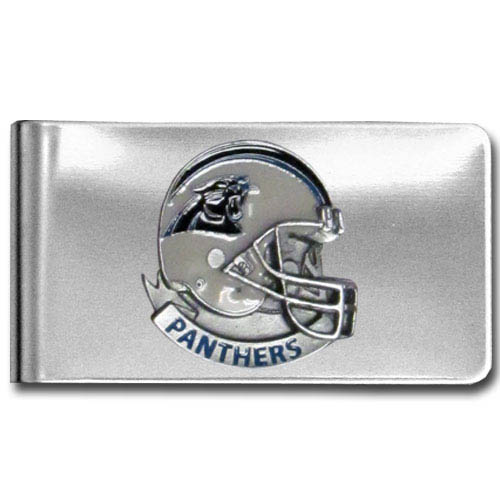 Carolina Panthers stainless steel money clip - Our NFL stainless steel money clips feature a hand painted emblem featuring the Carolina Panthers. Officially licensed NFL product Licensee: Siskiyou Buckle .com