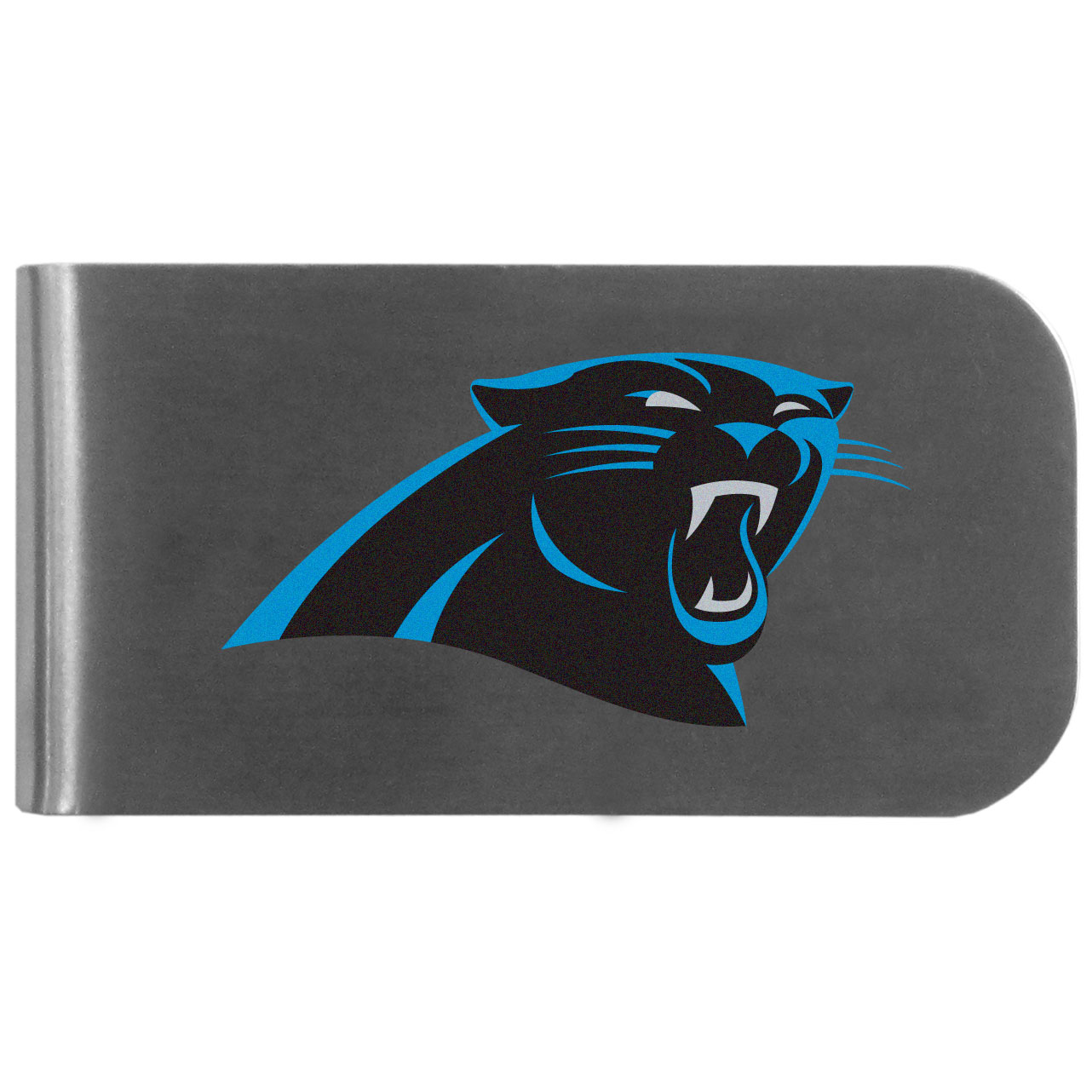 Carolina Panthers Logo Bottle Opener Money Clip - This unique money clip features a classic, brushed-metal finish with a handy bottle opener feature on the back. The clip has the Carolina Panthers logo expertly printed on the front of the clip.