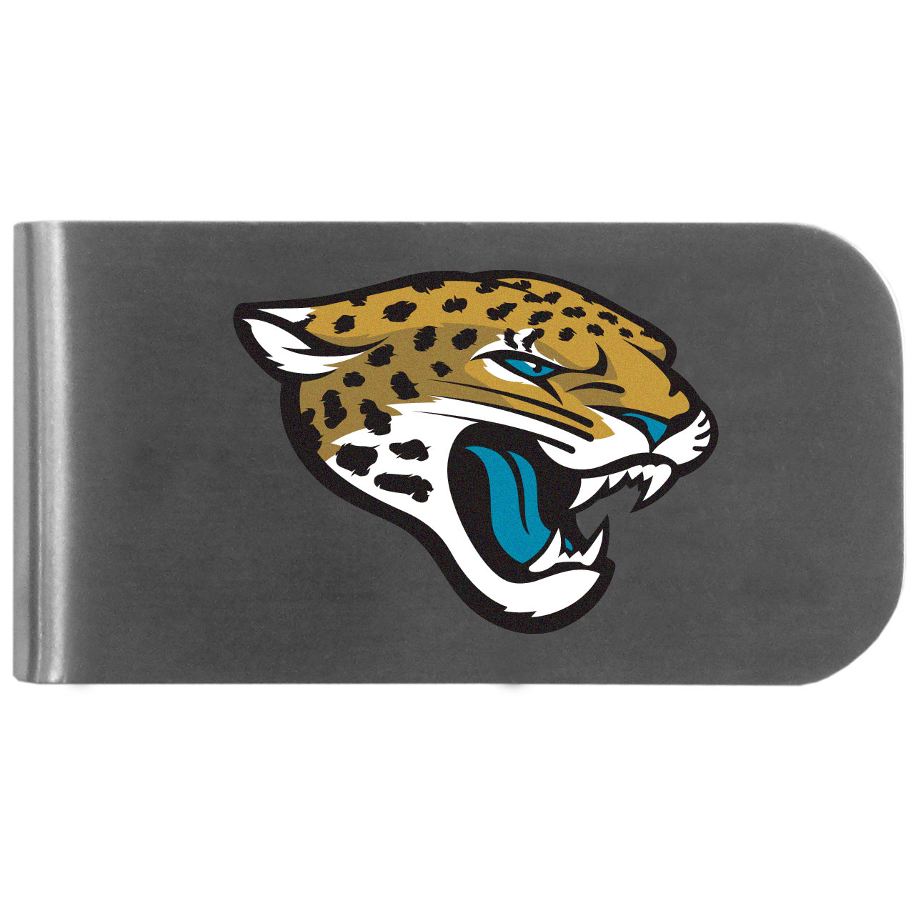 Jacksonville Jaguars Logo Bottle Opener Money Clip - This unique money clip features a classic, brushed-metal finish with a handy bottle opener feature on the back. The clip has the Jacksonville Jaguars logo expertly printed on the front of the clip.