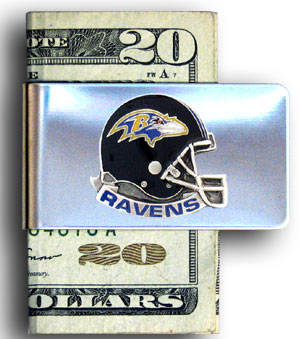 Baltimore Ravens stainless steel money clip - Our NFL stainless steel money clips feature a hand painted emblem featuring the Baltimore Ravens. Officially licensed NFL product Licensee: Siskiyou Buckle Thank you for visiting CrazedOutSports.com