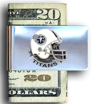 Tennessee Titans stainless steel money clip - Our NFL stainless steel money clips feature a hand painted emblem featuring the Tennessee Titans. Officially licensed NFL product Licensee: Siskiyou Buckle .com