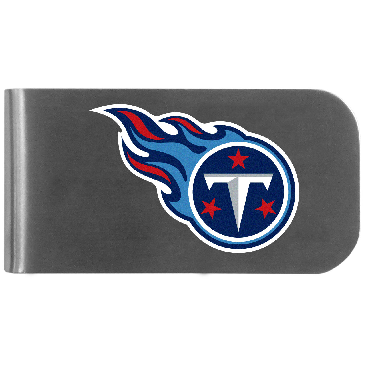 Tennessee Titans Logo Bottle Opener Money Clip - This unique money clip features a classic, brushed-metal finish with a handy bottle opener feature on the back. The clip has the Tennessee Titans logo expertly printed on the front of the clip.