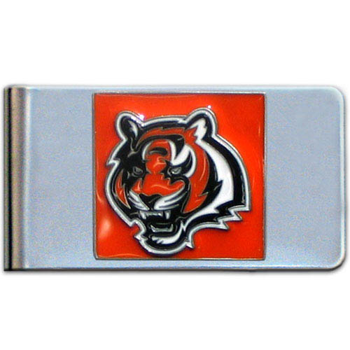 Cincinnati Bengals Large NFL Money Clip - Put your team spirit where your money is with this large metal money clip. Hand painted 3D emblem in team colors. Check out our entire line of  gifts!    Officially licensed NFL product Licensee: Siskiyou Buckle .com