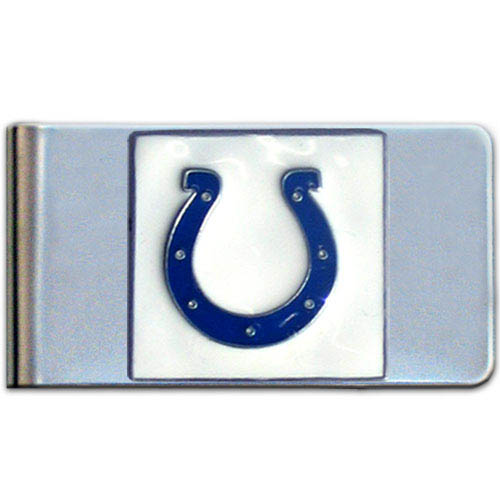 Indianapolis Colts Large NFL Money Clip - Put your team spirit where your money is with this large metal money clip. Hand painted 3D emblem in team colors.    Officially licensed NFL product Licensee: Siskiyou Buckle Thank you for visiting CrazedOutSports.com
