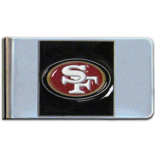 San Francisco 49ers Large NFL Money Clip - Put your team spirit where your money is with this large metal money clip. Hand painted 3D emblem in team colors. Check out our entire line of  gifts!    Officially licensed NFL product Licensee: Siskiyou Buckle .com