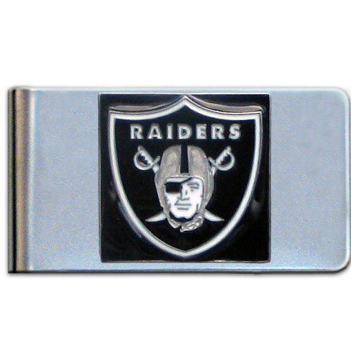 Oakland Raiders Large NFL Money Clip - Put your team spirit where your money is with this large metal money clip. Hand painted 3D emblem in team colors. Check out our entire line of  gifts!    Officially licensed NFL product Licensee: Siskiyou Buckle Thank you for visiting CrazedOutSports.com